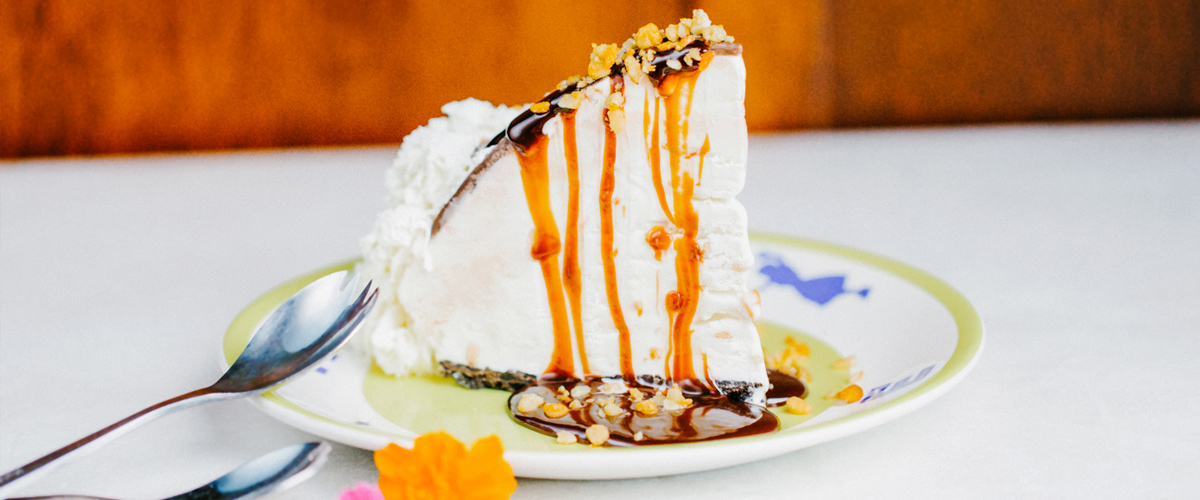 Hula Pie with ice cream, chocolate, and nuts